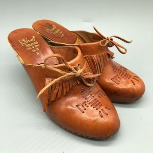 vintage 1970's kinney shoes brown leather clogs
